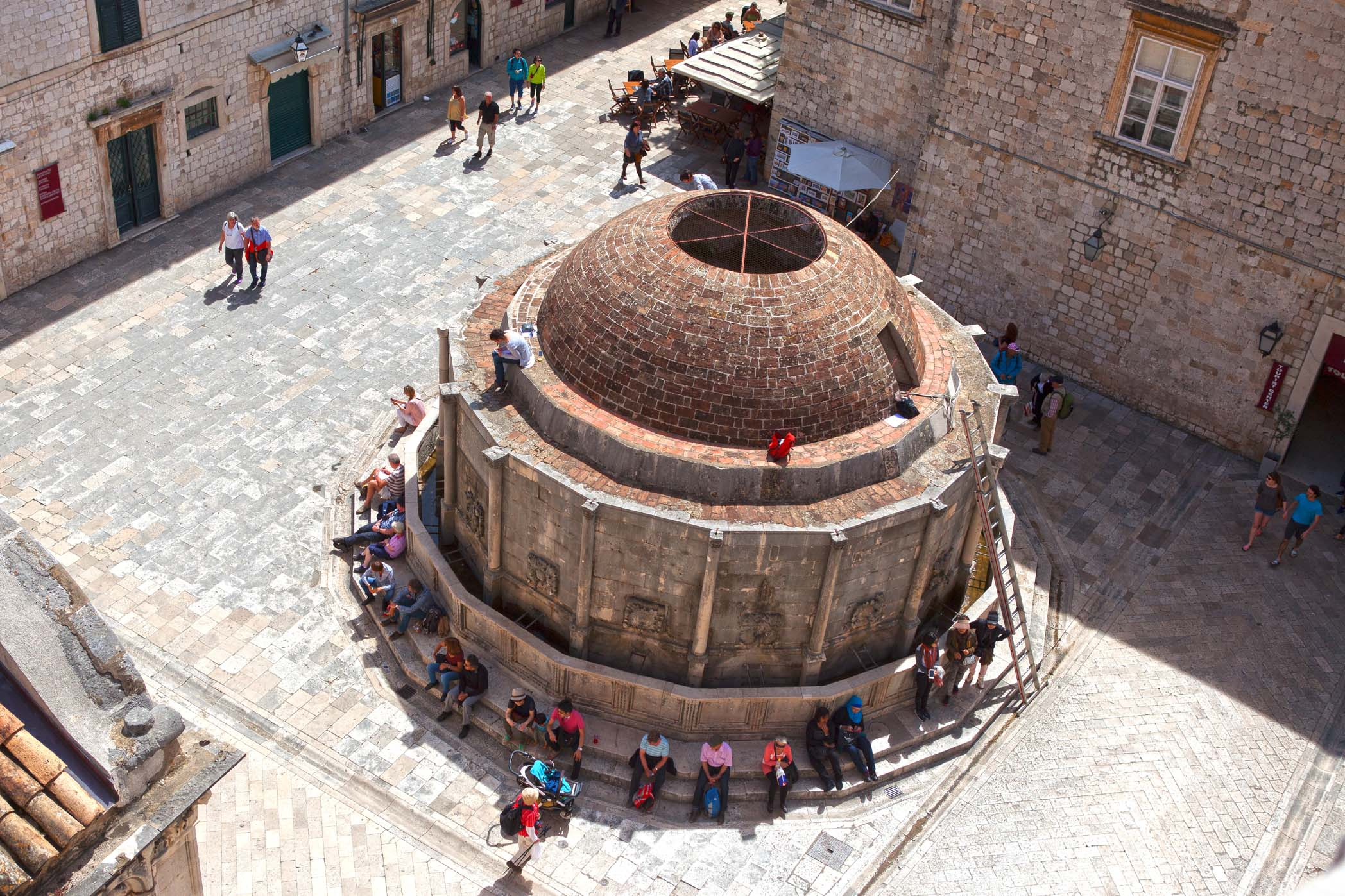 View of The Large Onofrios Fountain from the walls of Dubrovnik