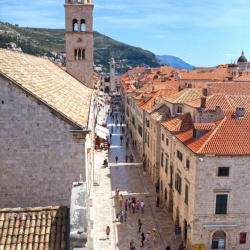 View of Stradun from the walls of Dubrovnik